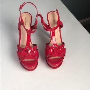 Red aldo platform heels